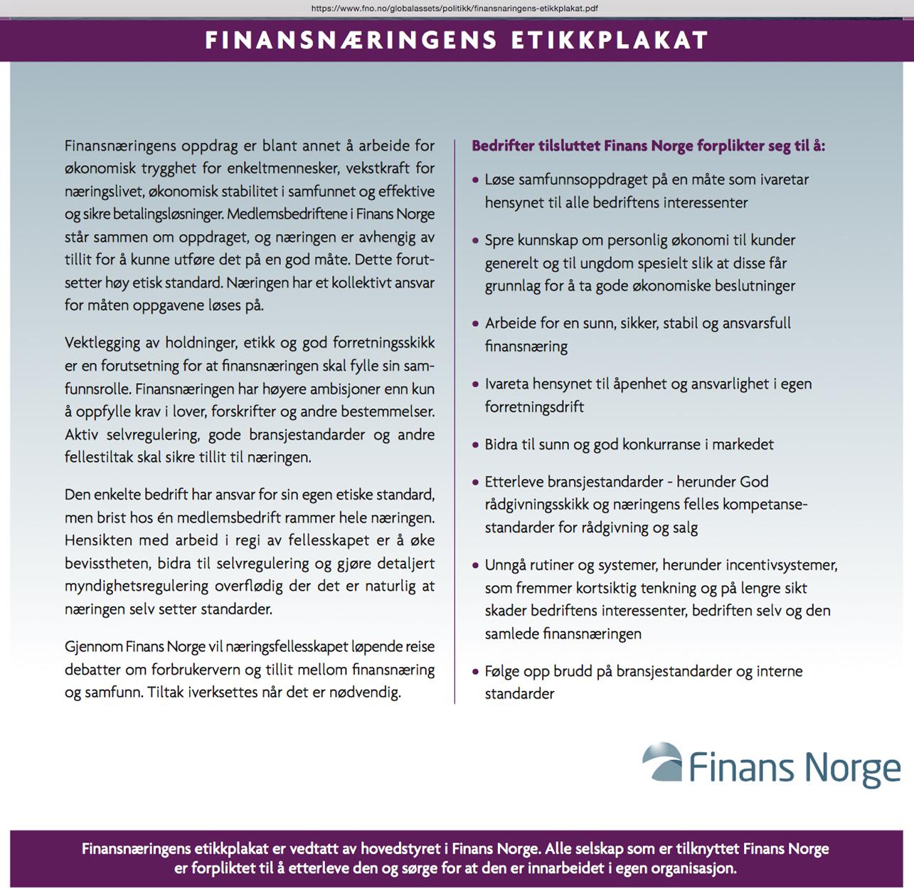 Finansnæringens etikkplakat